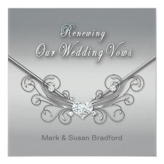 RENEWING WEDDINGS VOWS - INVITATION - SILVER