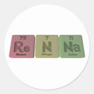 Renna como sodio del nitrógeno del renio pegatina redonda