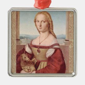 Rennaisance Unicorn and Lady Raphael Painting Metal Ornament