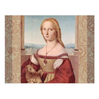 Rennaisance Unicorn and Lady Raphael Painting Postcard