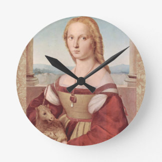 Rennaisance Unicorn and Lady Raphael Painting Round Clock