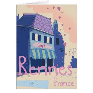 Rennes France vintage cartoon Card
