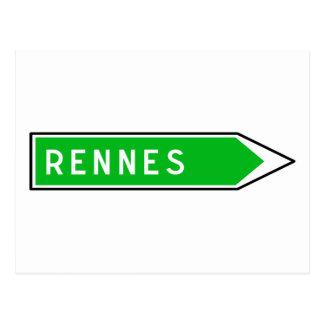 Rennes, Road Sign, France Postcards