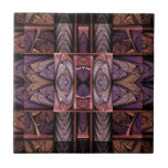 """Rennie Mac Ceramic Tile<br><div class=""""desc"""">Ceramic tile design from &quot;Rennie Mac, &quot; an Apophysis fractal by Susan Wallace. Copyright &#169; 2007, Susan Wallace. Reminiscent of the work of Charles Rennie MacIntosh, this stained glass design features squares and abstract flowers in shades of purple and orange. Frame it for use as a decorate trivet in the...</div>"""