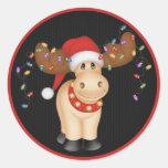 Reno 1 del navidad - pegatinas del día de fiesta etiquetas redondas