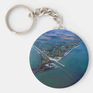 Reno Beach at Lake Erie Aerial Photograph Basic Round Button Keychain