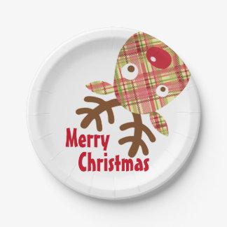 Reno caprichoso de las Felices Navidad Plato De Papel De 7 Pulgadas