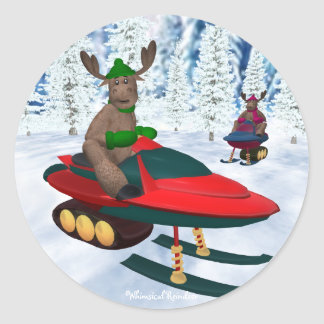 Reno caprichoso en Snowmobiles Pegatina Redonda