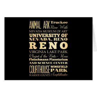 Reno City of Nevada State Typography Art Card