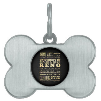 Reno City of Nevada State Typography Art Pet ID Tag