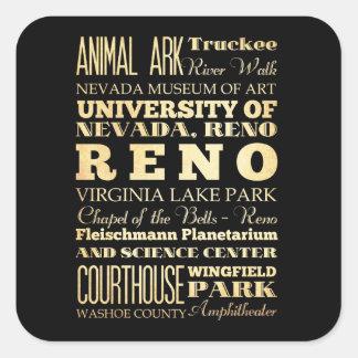 Reno City of Nevada State Typography Art Square Sticker