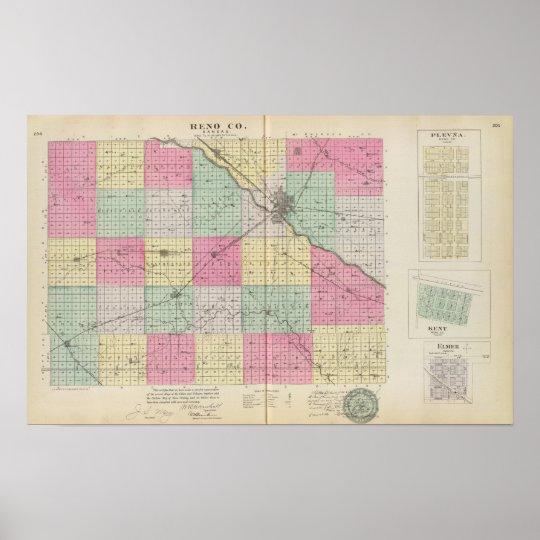 Reno Coand Plevna, Kent, Elmer, Kansas Poster