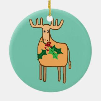 reno con acebo adorno navideño redondo de cerámica