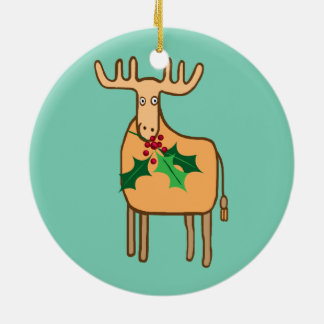 reno con el acebo, alce con las luces de navidad adorno navideño redondo de cerámica