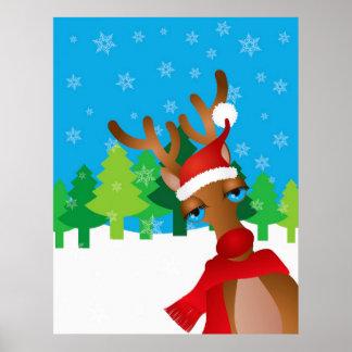 Reno con el gorra de Santa y el poster rojos de la Póster