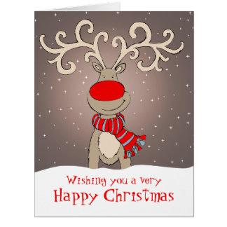 Reno con gris grande rojo de la tarjeta de Navidad