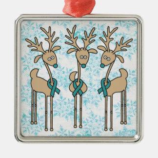 Reno de la cinta del trullo (cáncer ovárico) adorno navideño cuadrado de metal