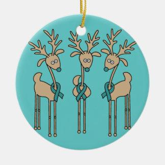 Reno de la cinta del trullo (cáncer ovárico) adorno navideño redondo de cerámica