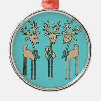 Reno de la cinta del trullo (cáncer ovárico) ornamentos de navidad
