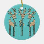 Reno de la cinta del trullo (cáncer ovárico) ornamento de navidad