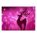 Reno de la tarjeta de Navidad en fondo brillante r