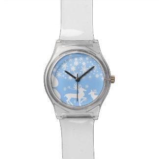 Reno del día de fiesta en azul reloj de mano