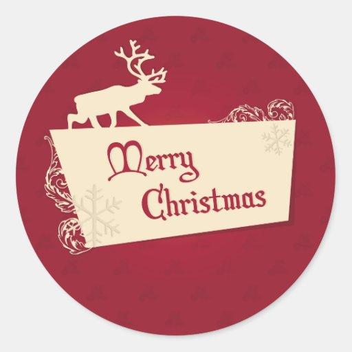 Reno del navidad de los deseos de los días de etiquetas redondas