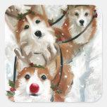 reno del navidad de Rudolph del Corgi galés del Calcomanía Cuadradas Personalizadas