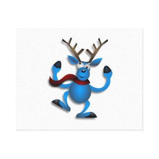Reno del navidad del baile impresión en lienzo estirada