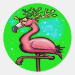 Reno del navidad del flamenco etiqueta redonda