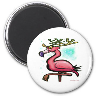 Reno del navidad del flamenco iman de frigorífico