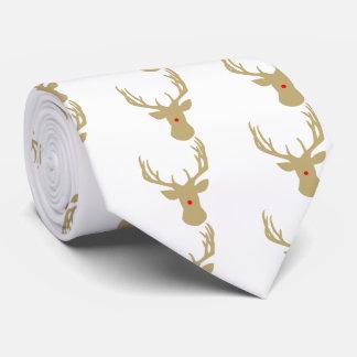 Reno del navidad del oro con un lazo rojo de la corbatas personalizadas