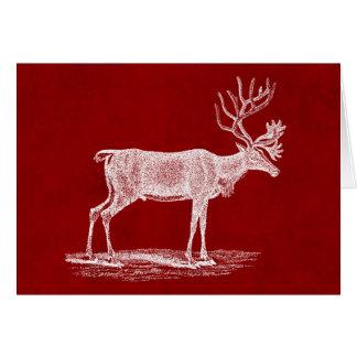 Reno del navidad en color carmesí rojo del pergami tarjeta de felicitación