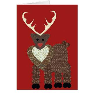 Reno del navidad en rojo tarjeta de felicitación