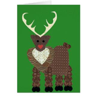Reno del navidad en verde tarjeta de felicitación