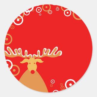 Reno del navidad pegatinas redondas