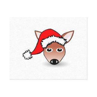 Reno del navidad que lleva el gorra de Santa Impresión En Lona Estirada