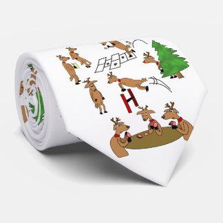 Reno divertido de la corbata del navidad que juega