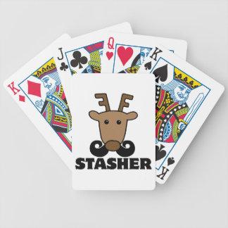 reno divertido del bigote del stasher del dasher cartas de juego