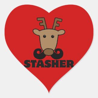 reno divertido del bigote del stasher del dasher pegatina en forma de corazón