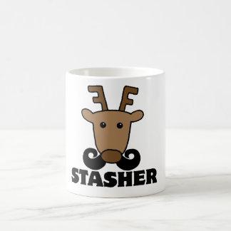 reno divertido del bigote del stasher del dasher taza básica blanca