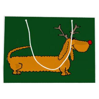 Reno divertido del Dachshund del navidad Bolsa De Regalo Grande