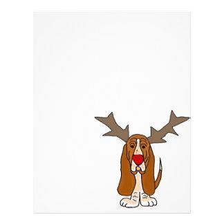 Reno divertido del navidad de Basset Hound Membretes Personalizados