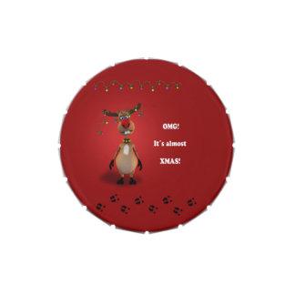 Reno divertido del navidad - lata rápida del jarrones de dulces