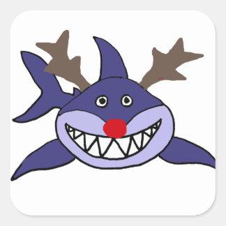 Reno divertido del tiburón del navidad pegatina cuadrada