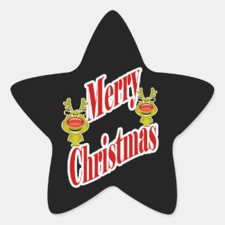 """Reno divertido """"Felices Navidad """" del navidad Pegatina En Forma De Estrella"""