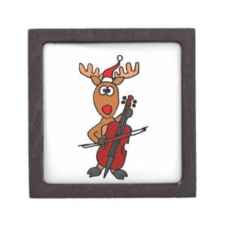 Reno divertido que juega navidad del violoncelo caja de recuerdo de calidad