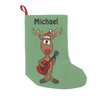 Reno divertido que toca la guitarra calcetín de navidad pequeño