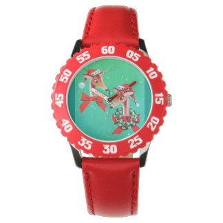 Reno dulce estupendo del navidad del vintage relojes