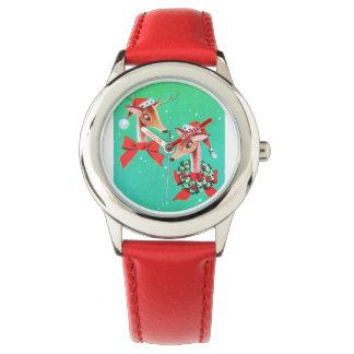 Reno dulce estupendo del navidad del vintage relojes de mano